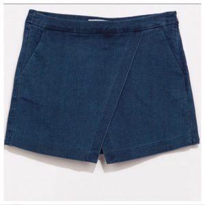 Zara Blue Denim Layered Stretch Mini Skort